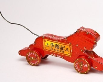 Tiger Toy | Year of the Tiger | Toy with Wheels | Push Toy | Desk Toy |Tiger Balm | Red Tiger