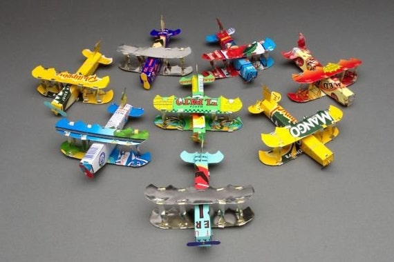 Airplane ornament, handmade recycled tin cans