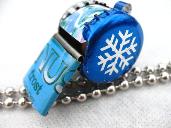 Whistle Frost  Polar Bear, Snow Flake, ecofriendly recycled beer caps