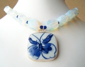 Butterfly - Opalite Nuggets Necklace with Pottery Shard