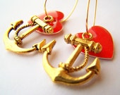 Gold Anchor Earrings, Anchor Charms, Nautical Anchor Earrings, Red & Gold, Red Hearts, I Love Sailing, Nautical Jewelry, Heart Charms, Hoops