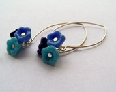 Bluebells - Blue Czech Glass Flower Bell Trio Earrings