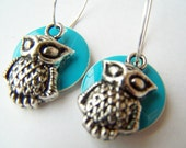 Owl Earrings, Vintage Style Owl Charms & Blue Moons on Hoops, Woodland Fashion Jewelry - Owly