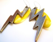 Lightning, Yellow Electric Bolt Earrings, Super Hero Power Earrings, Bright Yellow & Bronze on Kidneywires