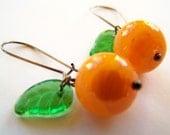 Oranges Earrings - Tangelo - Orange Citrus Fruit Earrings - Like California Cuties Tangerines