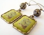 Cage - Vintage Style Antiqued Brass Birdcage Earrings in Chartreuse Green