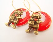 Robot Earrings, Android Love Charm Earrings in Red & Antiqued Brass, Charms on Hoops - Robots