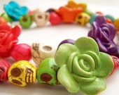 Colorful Skull Necklace,  Day of the Dead Jewelry, Bright Colors, Sugar Skulls & Flowers, Dia de Los Muertos - Flores