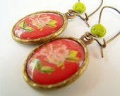 Rose Drop Earrings, Vintage Style Antiqued Brass Earrings in Red with Chartreuse Green & Pink, English Tea Roses Image Jewelry - Rose