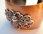 Bee Bracelet - Wide Copper Cuff - Bee - Mixed Metals of Shiny Coppertone Steel & Antiqued Silver with Queen Bee