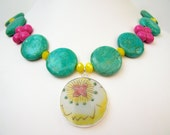 Pottery Shard Necklace - Florie - Chunky Turquoise & Yellow with Fuchsia - One of a Kind Jewelry with Porcelain Pendant