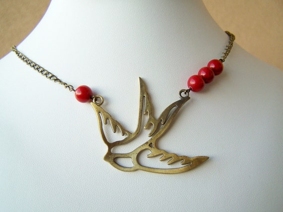 Soaring - Antiqued Brass, Tattoo-Inspired, Flying Bird Necklace on Vintage Chain with Red Jade Stone Accents