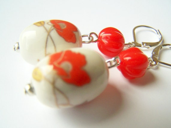 Poppy Flower Earrings, Vintage Inspired Jewelry, Czech Glass and Porcelain Earrings on Leverbacks with Red-Orange Flowers, Floral - Poppies