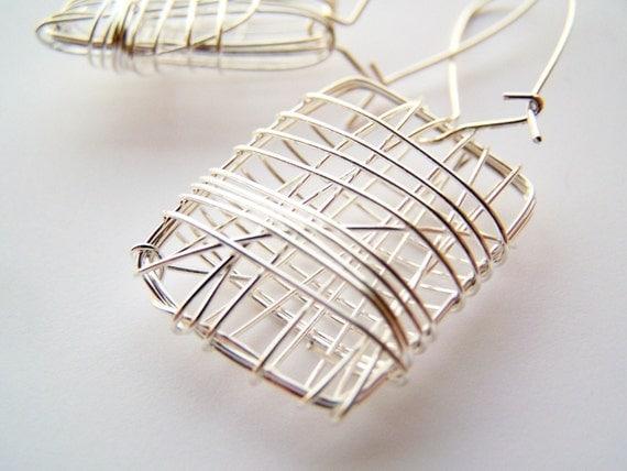 Rhombus - Modern, Wire Cage Earrings