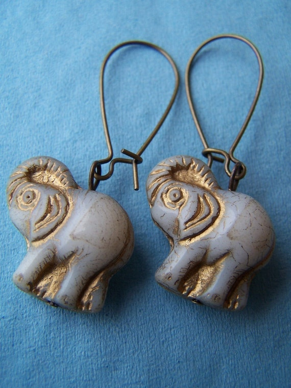 White Elephant Earrings - Barnum - Czech Glass Elephants on Antiqued Brass Kidneywires - Animal Jewelry