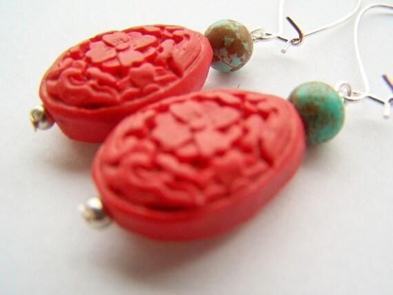 Cinnabar Earrings - Fiesta - Cinnabar Drops & Turquoise Stones on Kidneywires