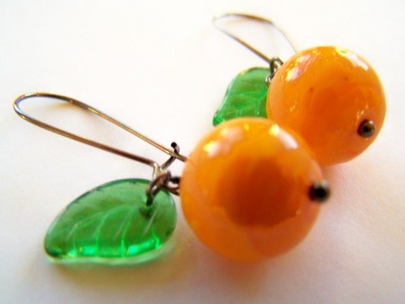 Oranges Earrings - Tangelo - Orange Citrus Fruit Earrings - Like California Cuties Tangerines