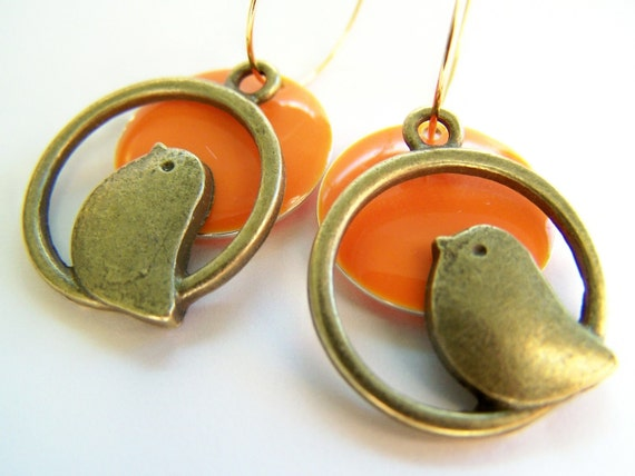 Tweeters - Sunrise Orange Bird Earrings in Antiqued Brass & Tangerine Enamel