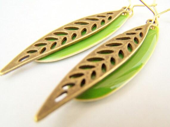 Leaves - Thin Green Leaf Earrings in Antiqued Brass & Green Enamel on Kidneywires
