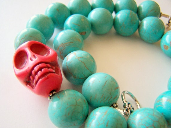 Day of the Dead Necklace - Vida - Chunky Statement Necklace in Turquoise with Coral Pink Skull
