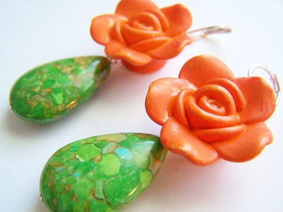 Halloween Orange & Green Frida Kahlo Earrings - Carmen - Clay Flowers and Stone Drops on Leverbacks