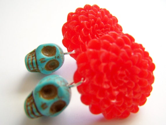 Red & Turquoise Post Earrings - Skulls and Chrysanthemums - Calaveritas - Day of the Dead Jewelry - Skull Earrings with Flowers