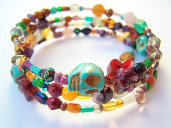 Day of the Dead Bracelet - Coils - Turquoise Skulls with Czech Glass Beads - Wrap Bracelet in Purple, Gold & Green