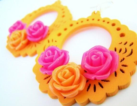 Wood Hoop Earrings - Tango - Tangerine Orange with Hot Pink Flowers -  Bold Wood Jewelry