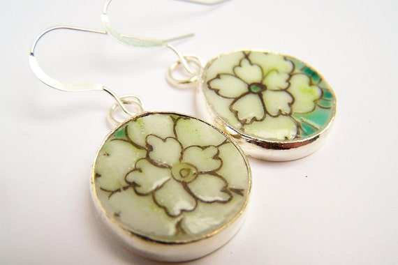 Pottery Shard Earrings - Daffodil -  Sterling Silver Earrings - Floral Porcelain Jewelry - Light Yellow & Teal