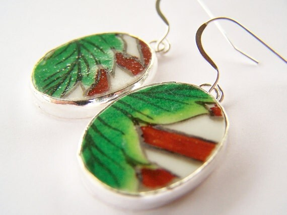 Green & Brown Earrings - Pottery Shard Earrings - Palms - Tropical Painted Porcelain on Sterling Silver Fishhooks
