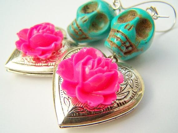 Day of the Dead Earrings, Skull Earrings, Heart Lockets, Turquoise Skulls, Hearts & NEON Pink Flowers - Secrets - Dia de Los Muertos Jewelry