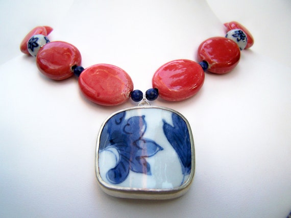 Chunky Pottery Shard Necklace - Cora - Bold Coral Porcelain Beads and Recycled China Pendant - Blue & White Ming Porcelain - One of a Kind