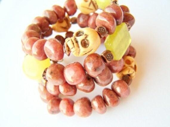 Day of the Dead Skull Bracelet - Deadsi - Stone Beads, Copper & Carved Bone Skulls