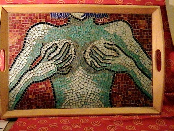 tetas azules, stained glass mosaic tray