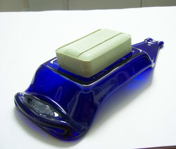 Recycled cobalt blue bottle soap dish 142B