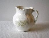 Antique Burford Bros Ironstone Creamer White Flowers Shabby Cottage