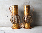 ON HOLD   2 Boho Hammered Tin Copper Tall Votive Candle Holders Open Work Hippie 1970s