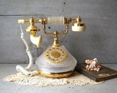 Vintage French Crystal & Brass Phone Shabby Boudoir TT Systems Telephone