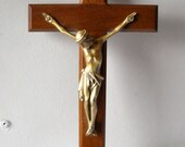 Vintage Crucifix Brass Wood Cross Religious Wall Hanging Jesus Easter Catholic Christian