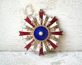 Fleur di Lis Enamel Medallion Pendant Pearl Vintage