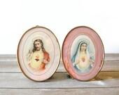 Vintage Glass Prints Sacred Heart Jesus Immaculate Heart Mary Czechoslovakia Catholic