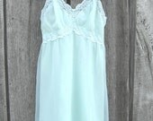 ON HOLD 1950s Seafoam Green Negligee Seamprufe Sheer Nylon Lace Size 36