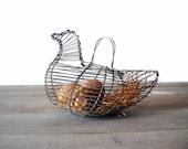 Vintage Wire Chicken Gathering Basket Country Fabric Eggs
