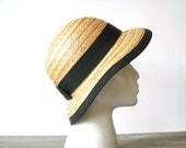Vintage Straw Hat Black Ribbon Ladies