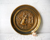 Gypsy Brass Wall Plaque, Bronzed, Dancing, Camp Scene