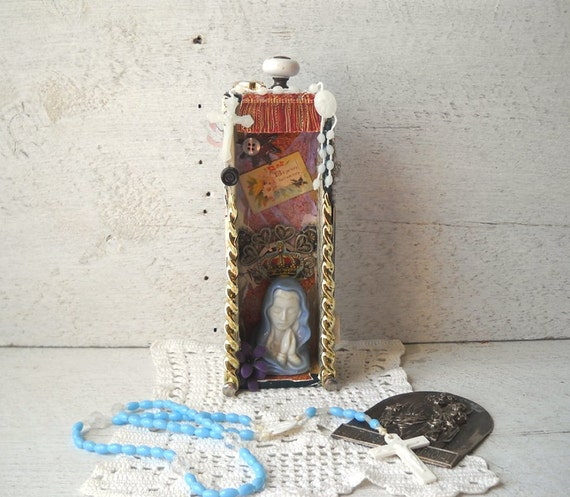 Altered Art Assemblage Virgin Mary Shrine BE YE Shadow Box Mixed Media Collage