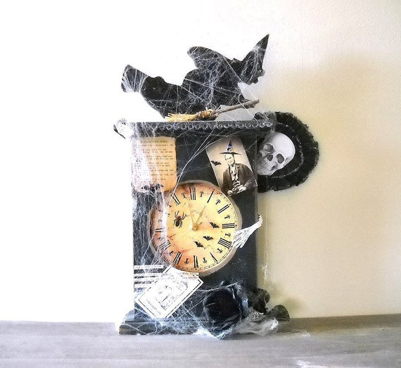 Primitive Halloween Clock Altered Art Assemblage HAUNTING TIME