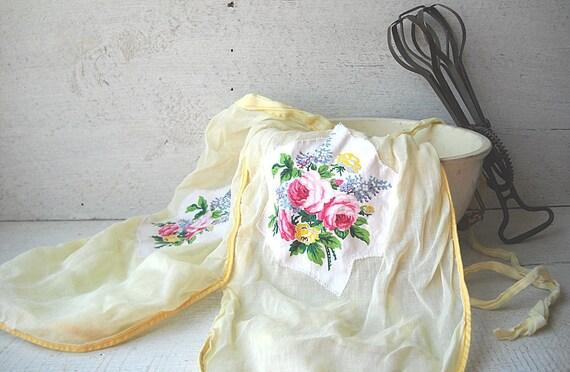 Vintage Yellow Half Apron Sheer Pink Roses Pocket Triple Panel