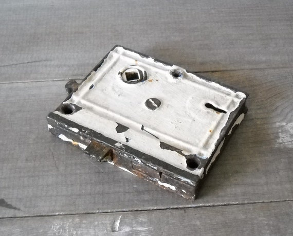 Antique Door Lock Mechanism White Chippy Paint