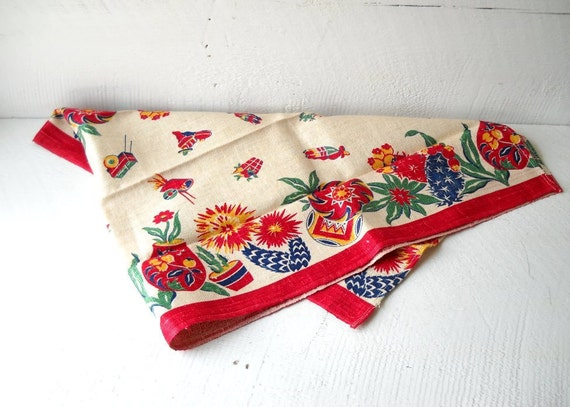 Vintage Mexican Motif Kitchen Towel Linen Runner